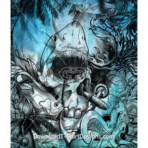 Deep Ocean Reef Shark Skull Watercolor Repeat