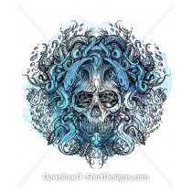 Octopus Tentacle Wave Ocean Watercolor Skull