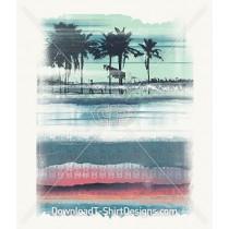Summer Escape Abstract Stripe Landscape