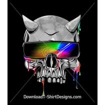 Neon Paint Drips Horned Sunglasses Skull