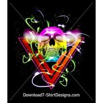 Neon Glow Triangle Skull