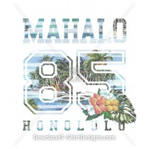 Mahalo Vintage Tropical Island Collegiate Number