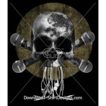 Dark Moon Skull Music Microphone Cross Wires