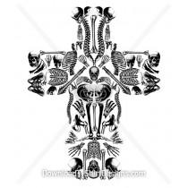 Sinister Skull Bones Cross Collage