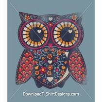 Owl Pattern Flowers Stitching
