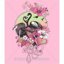 Flamingo Bird Sunset Flowers Heart