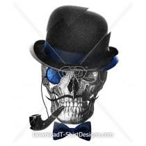 Skull Bowler Hat Pipe Moustache