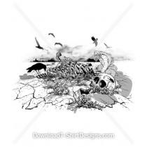 Skull Skeleton Birds Snake Decay