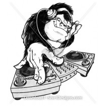 Monkey Headphones Dj Turn Table