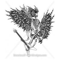 Wings Skeleton Feathers Guitar
