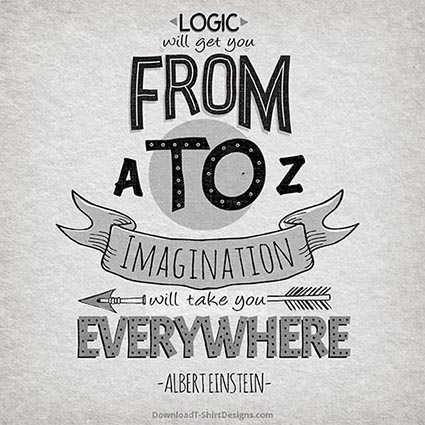LOGIC & IMAGINATION QUOTE-Downloadt-shirtdesigns