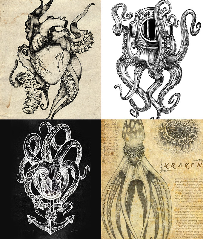 Ancient Seascapes Pirate Skulls And Skeletons Detailed Tattoo Illustration Style Monochromatic Reworked Anchors Octopus Tentacles Ships