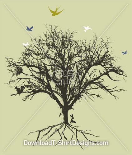 Birds Tree Roots Earth