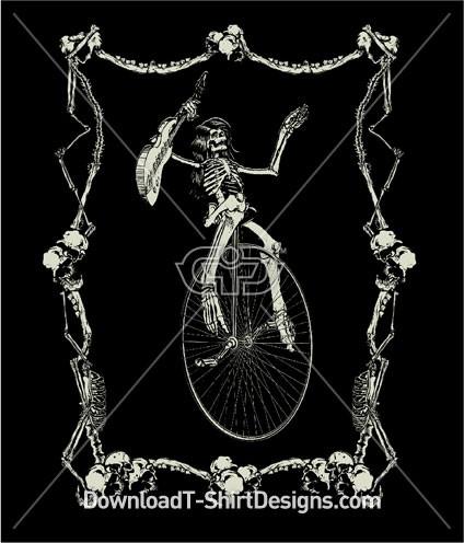 Unicycle Skeleton Guitar Music Performer