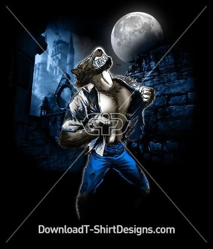 Blue Moon Illustrated Scary Werewolf Night Castle