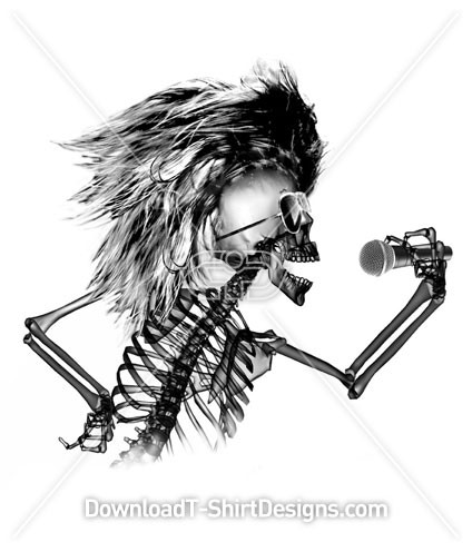 Singing Rock Music X-Ray Skeleton Skull