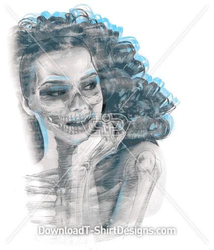 Women Skeleton Skull X-Ray Portrait