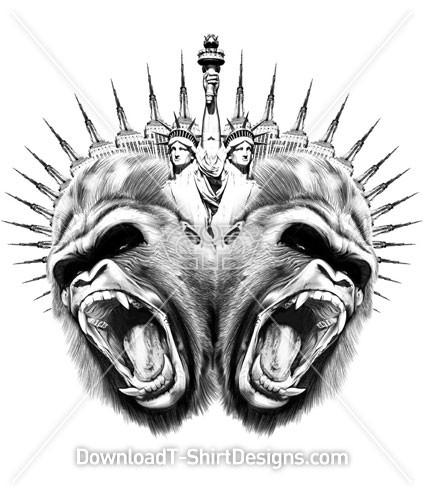 Statue Of Liberty Gorilla Animal Heads Tattoo