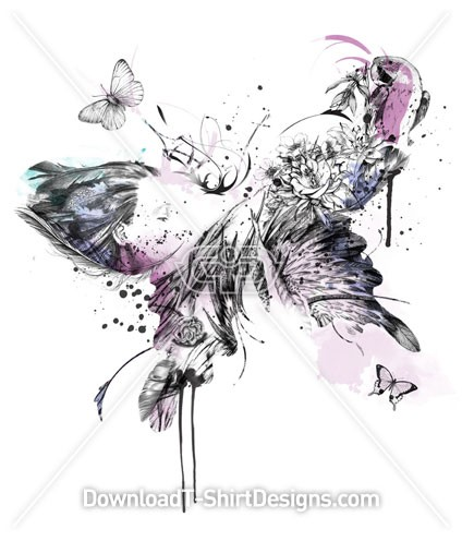 Romantic Abstract Feather Butterfly