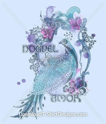 Art Nouveau Peacock Bird