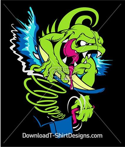 Monster surfer jack in the box surfboard for T shirt design online software free download