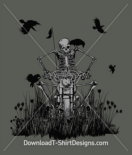 Creepy Skeleton Motorcycle Grass Crows