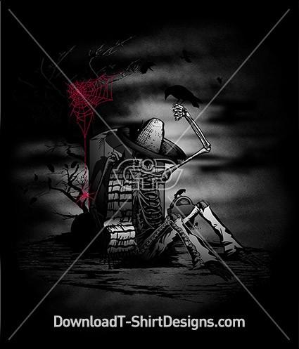 Graveyard Skeleton Hat Crow Night