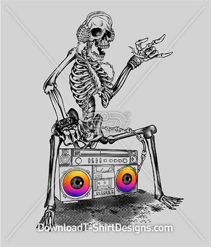 Skeleton Boom Box Music Radio Sound