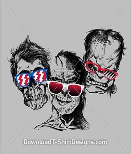 Skull Zombie Heads Sunglasses