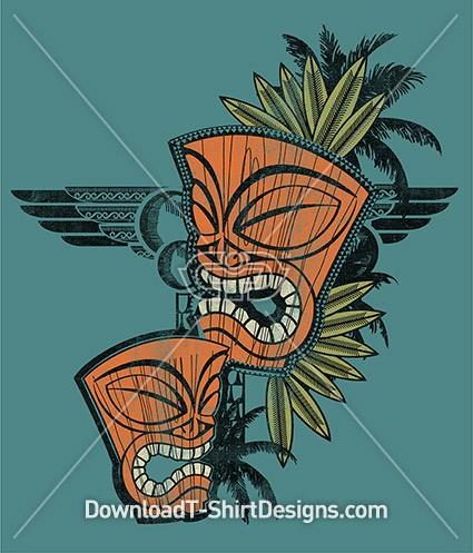 Retro Tribal Tiki Mask Palm Tree