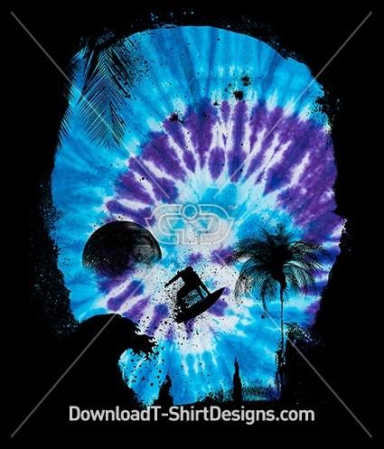 Tie Dye Skull Silhouette Palm Tree Surfer Moon