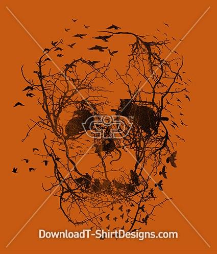 Crow Birds Tree Skull