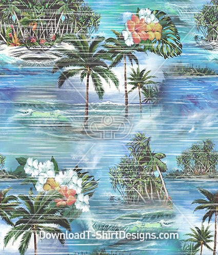 VintageTropical Hawaiian Palmtree Beach Seamless Pattern