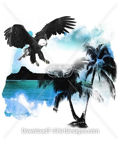 Tropical Palm Tree Beach Blue Ocean Eagle Bird