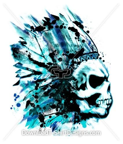 Scary Grungy Skull Tie Dye Headpiece