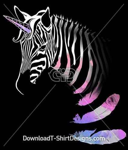 Unicorn Zebra Animal Stripes Watercolor Feathers
