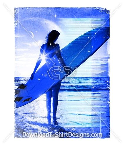 Summer Surfer Woman Surfboard Space Glitch Beach Waves