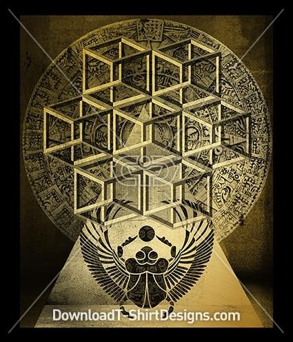 Egyptian Geometric Golden Beetle Cube