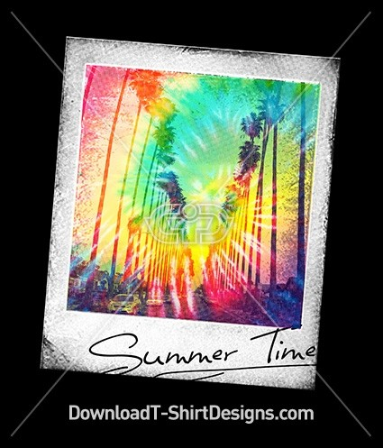 Polaroid Tie Dye Photo Summer Palm Tree Street