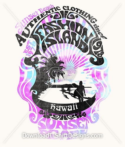 Retro Tie Dye Poster Hawaii Beach Palm Tree Surf