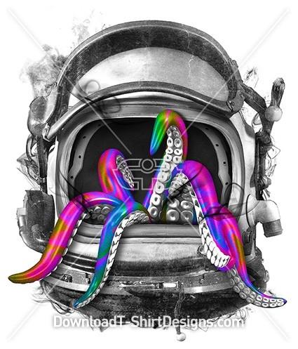 Space Astronaut Helmet Alien Tentacles