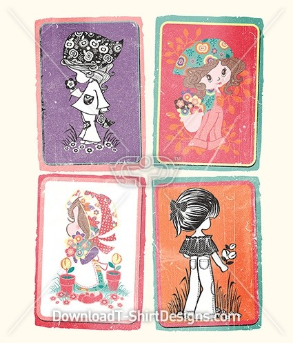 Cute Retro Girl Characters Flower Swap Cards