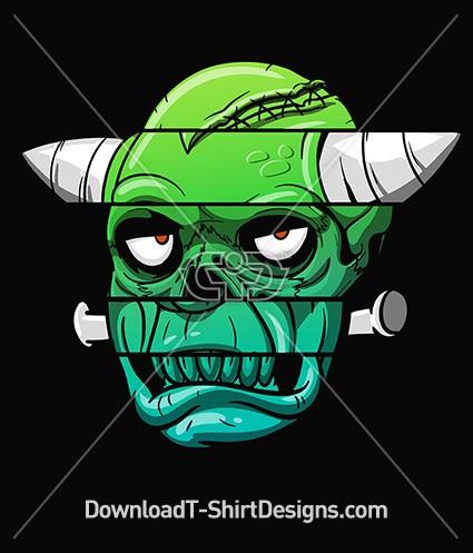 Cartoon Comic Frankenstein Monster Head Bolts