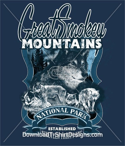 Smokey Mountain Wolf Animal Crest Emblem