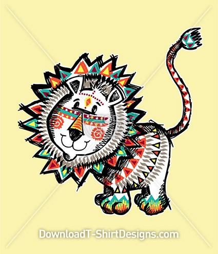 Cute Aztec Tribal Ethnic Lion