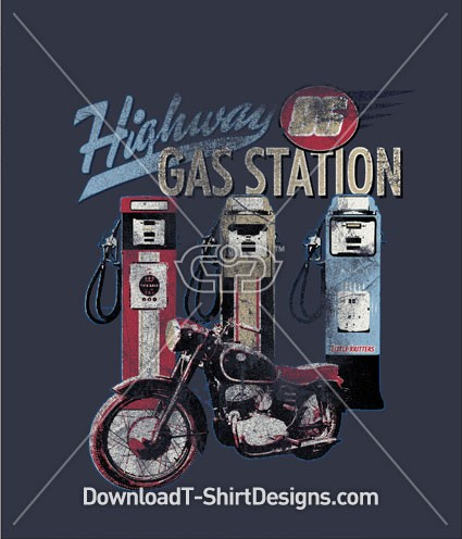 Highway Vintage Motorcycle Gas Pump
