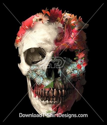 Floral Flower Skull Collage