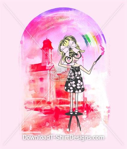 Girl Paint Rainbow City