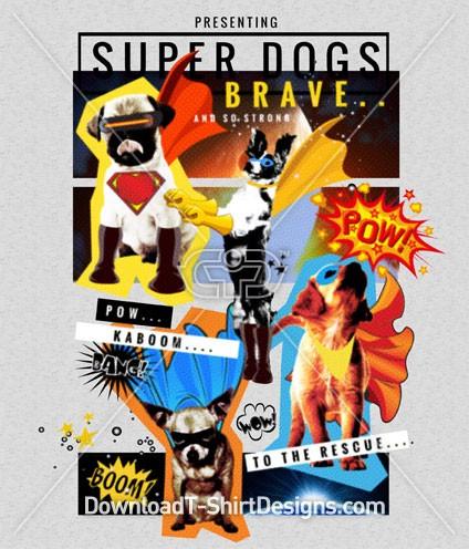 Superhero Comic Pop Art Dogs