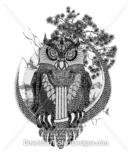 Pattern Illustrated Owl Bird Tree